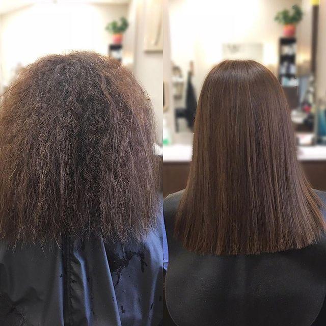 Keratin straightening salon treatment