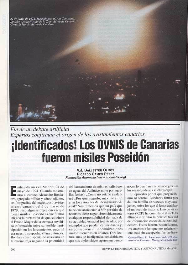 Canary Islands UFo singhtings 1976