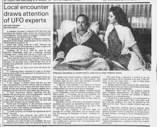Газетная вырезка о похищении Филиберто Карденаса и его жены Ирис.