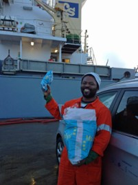 MV Jacqueline-C  getting her gifts!