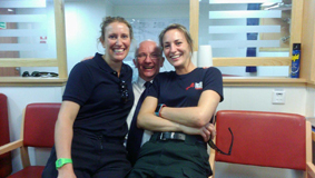 Chatting in the messroom with the medics!