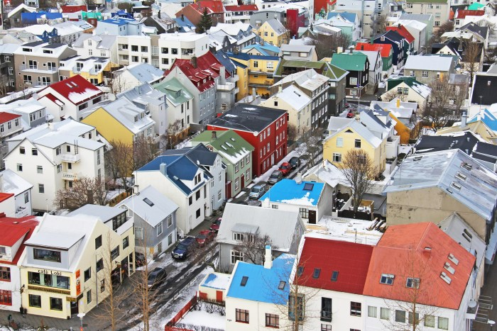 reykjavik city center in the winter