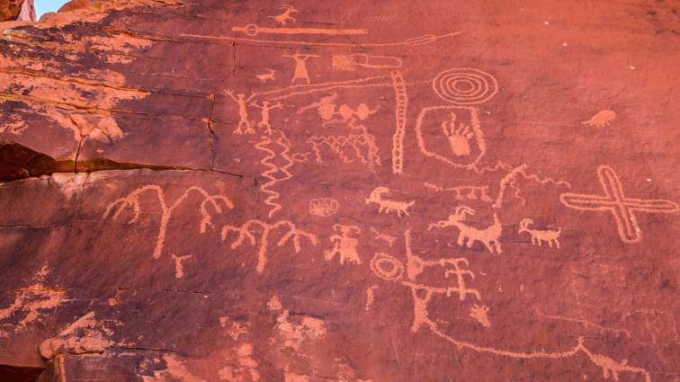 Petroglyphs at Atlatl Rock in Valley of Fire Las Vegas