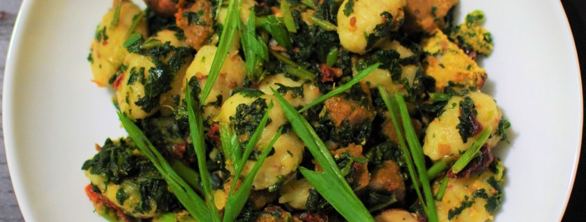 Pillowy, chili-garlic, gluten free potato gnocchi