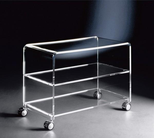 hochwertiger acryl glas tv wagen tv tisch mit 4 chromrollen klar 63 x 38 cm h 48 cm acryl glas starke 10 12 mm