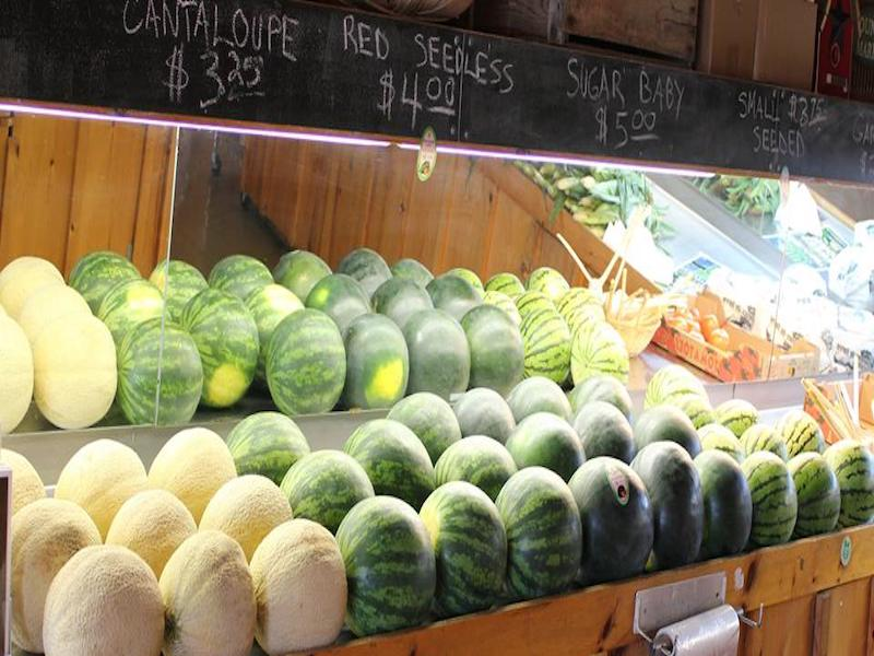 watermelons and cantaloupes