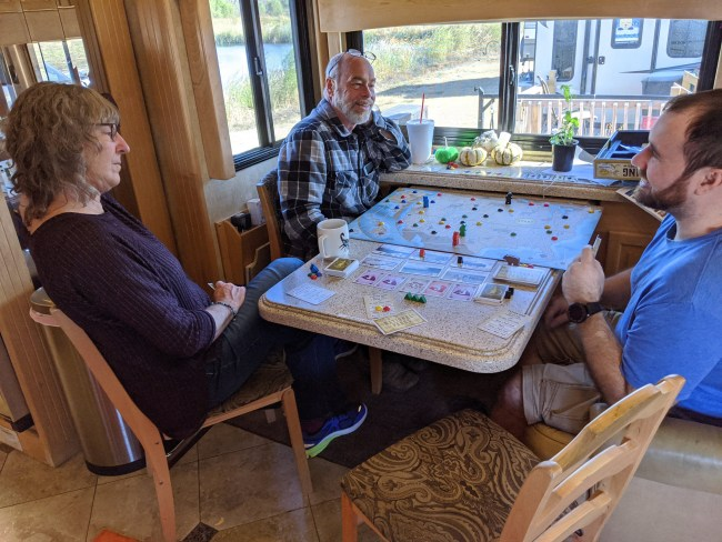 Playing a board game in the motorhome