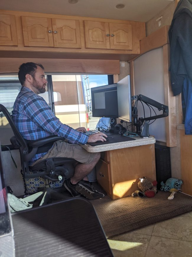Full-time RV life means Jeremiah works from the road.