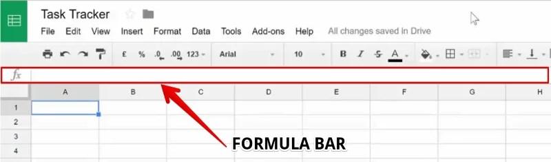 Formula Bar in Google Sheet