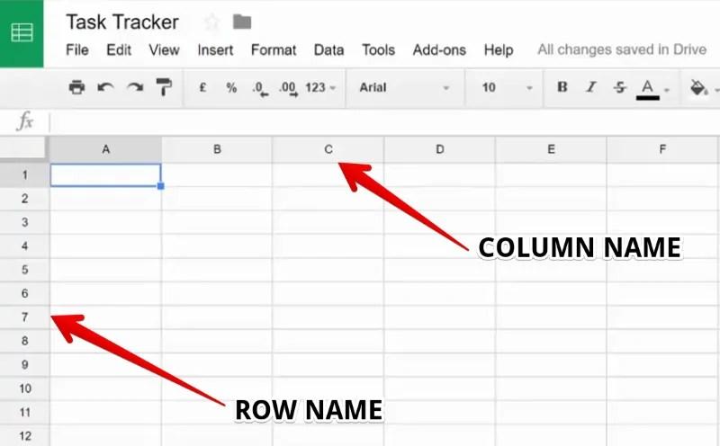 Row Name and Column Name