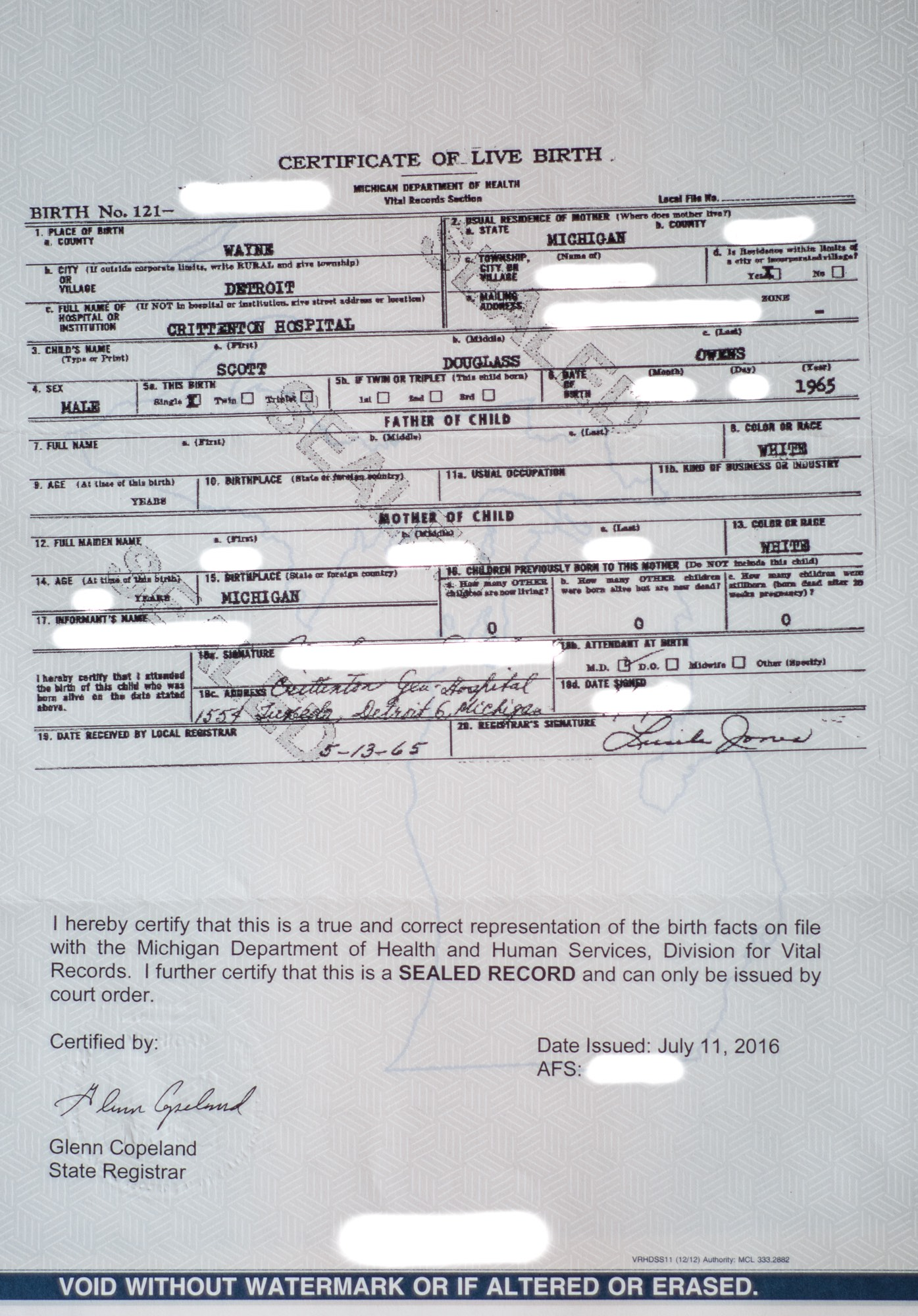 Faqs for court order requests in michigan for original birth a copy of rudy owens original birth certificate with some information intentionally whited out by the author aiddatafo Image collections