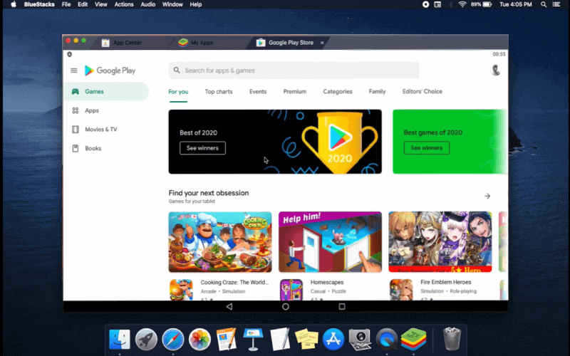 google playstore search for app bluestacks for macos