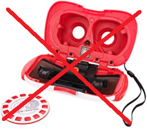 ViewMaster phone VR system with red X crossing it out