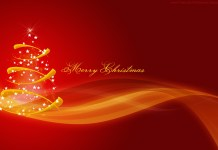red golden Christmas card with tree