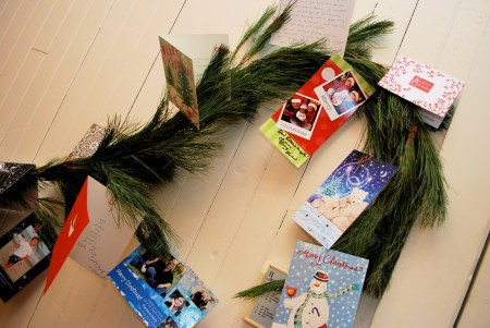 home decoration with Christmas Cards