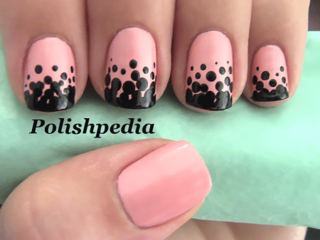 Pink and Black Polka Nail dots