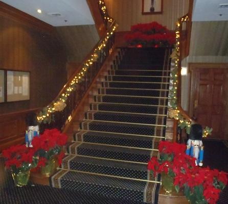 decorating a staircase for christmas celebrations