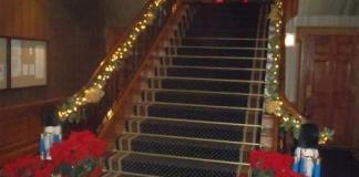 Christmas decorated staircase