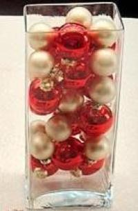 Glass container with christmas balls