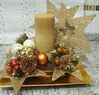 Golden Candles with star for Christmas Decoration