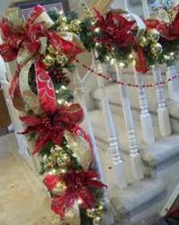 wreaths around railing