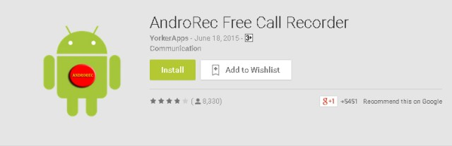 AndroRec Free Call Recorder by YorkerApps for Android Mobile Phones