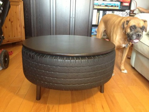 Coffee Table made with recyled tyres