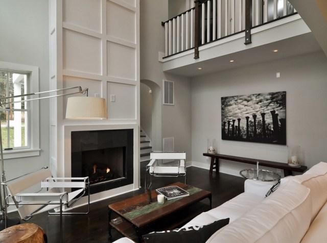 White Sofas Living Room Dark Wood Floor
