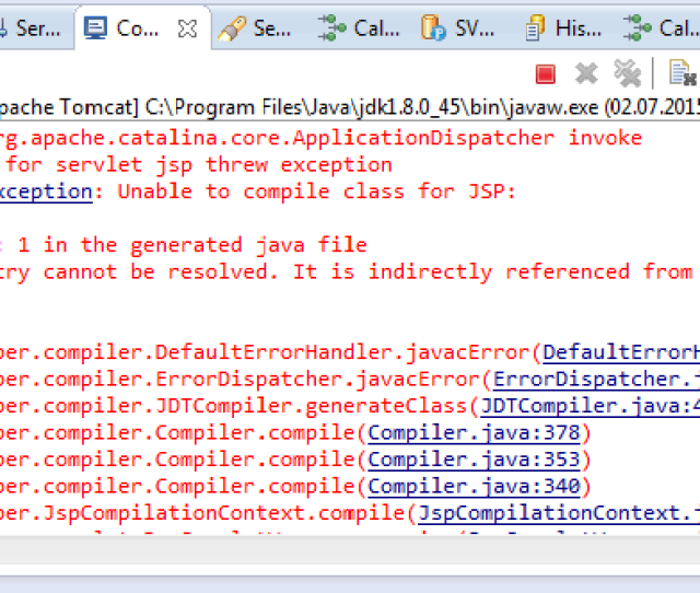 And Here Is The Same Error In Eclipse Development Environment
