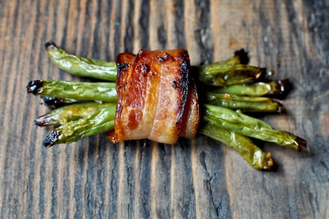 Bacon Wrapped Green Bean Bundles | How Sweet Eats