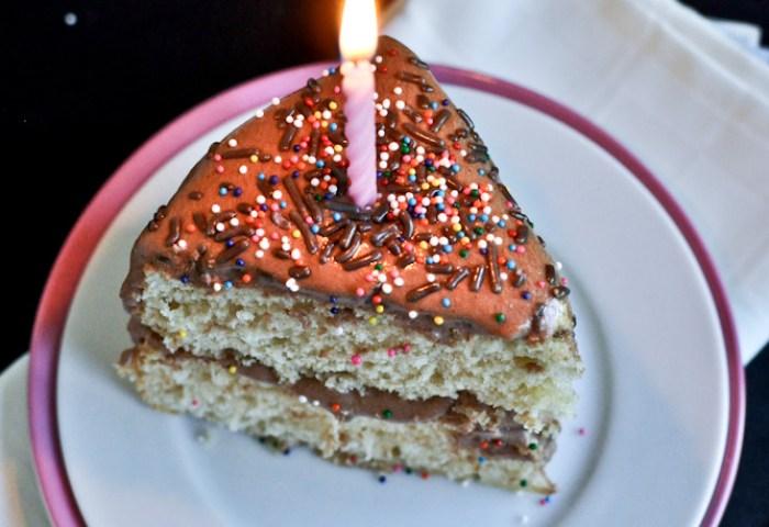 Yellow Birthday Cake With Chocolate Fudge Frosting