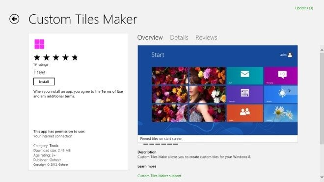 create custom tiles to start screen