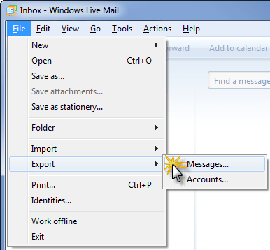 Export command in Windows Live Mail