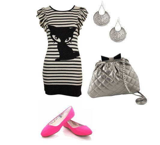 Daily Outfit Under $60: Black & White Liney Cat 1