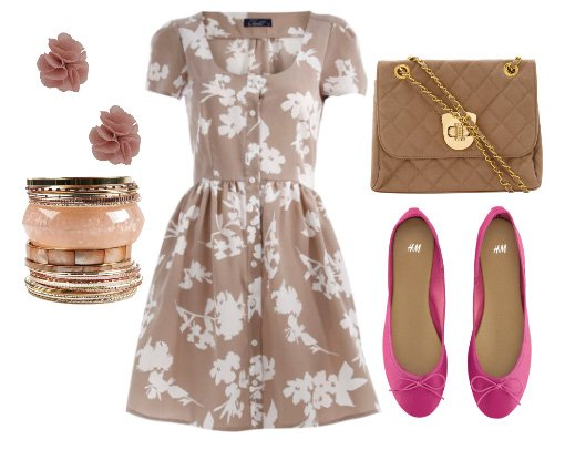 Daily Look for $100: Beige Florals and Pink Accents 3