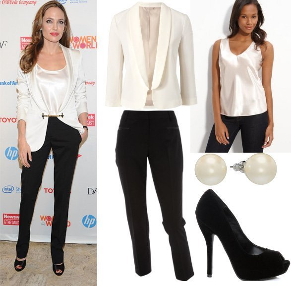 Get Her Style – Angelina Jolie's Black & White Outfit for $160