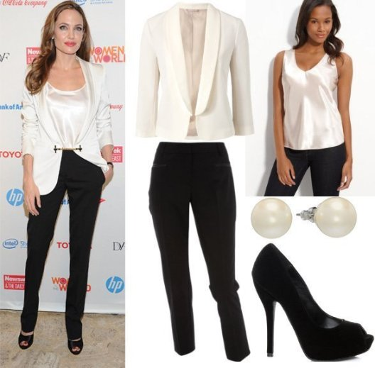 Get Her Style - Angelina Jolie's Black & White Outfit for $160 1