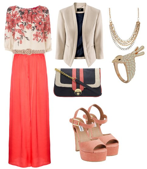 Daily Outfit: Alternative Work Day in Coral and Florals 1