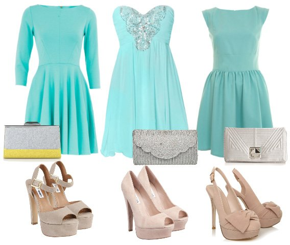 How to Wear: Minty Dresses, Nude Heels & Silver Clutches