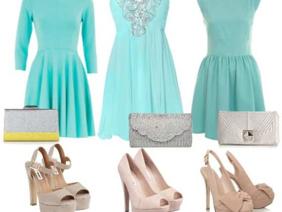 How to Wear: Minty Dresses, Nude Heels & Silver Clutches 1