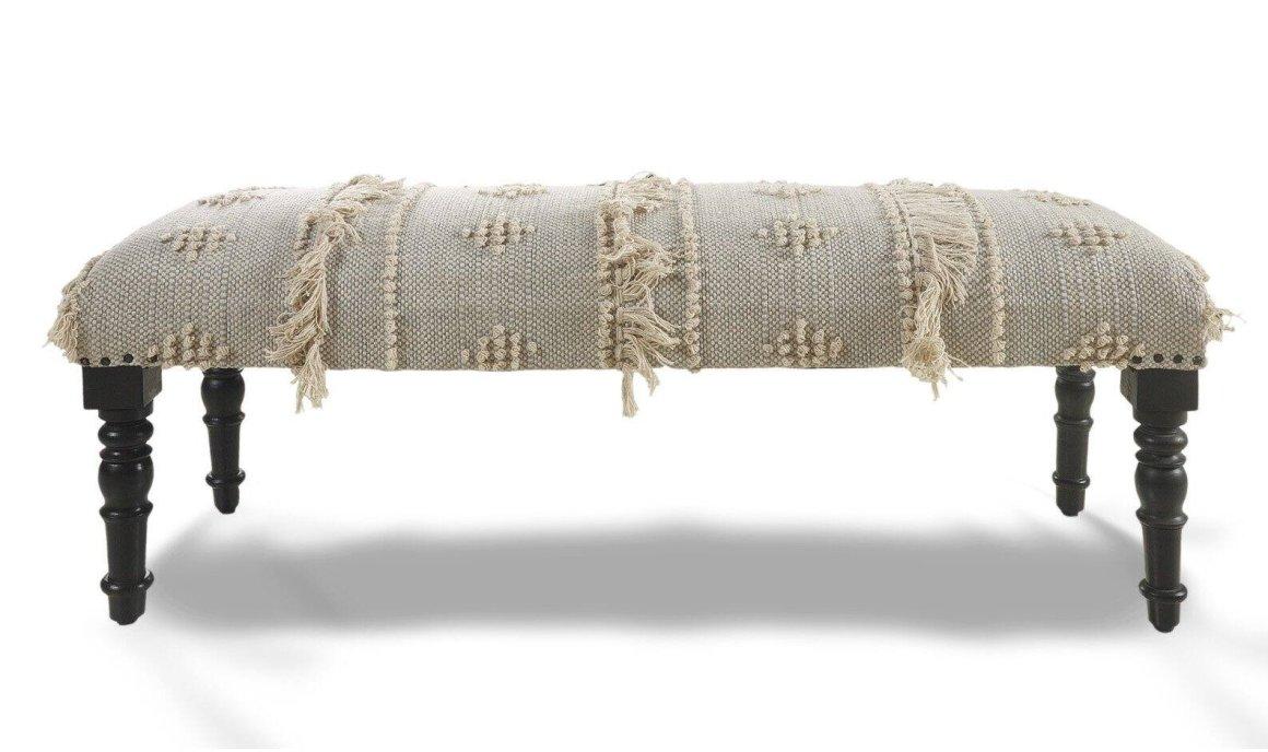 Embroidered-Fringe-Indoor-Bench