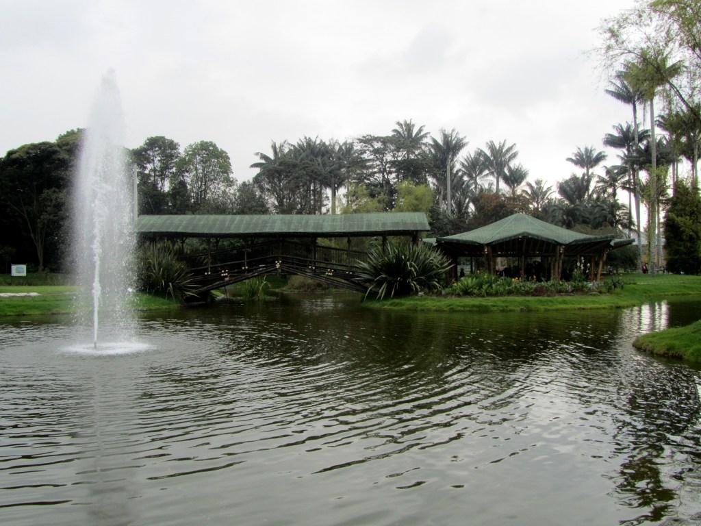 bogota botanical garden main lake and bridge.