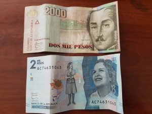 Colombia currency 2000 pesos