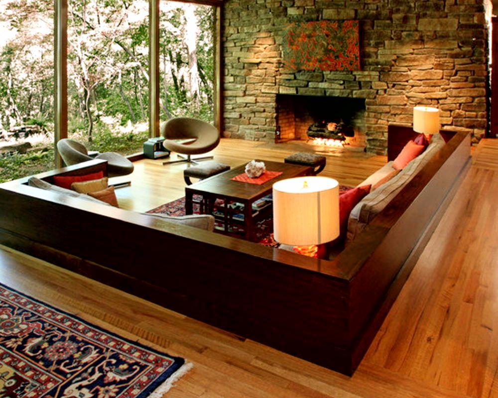 Living Room Interior Design and the Natural Stone   How To Build A House Natural Stone Wall