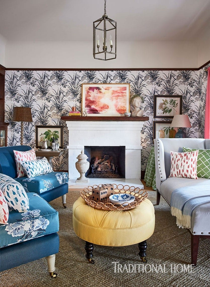 Living room of the Traditional Home Napa Showhouse, designed by Madcap Cottage designers John Loecke and Jason Olive Nixon