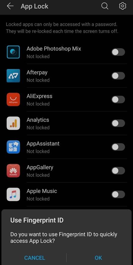 App Lock List