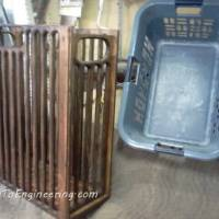 Make a plywood Laundry basket - fancy column design with router and stain.