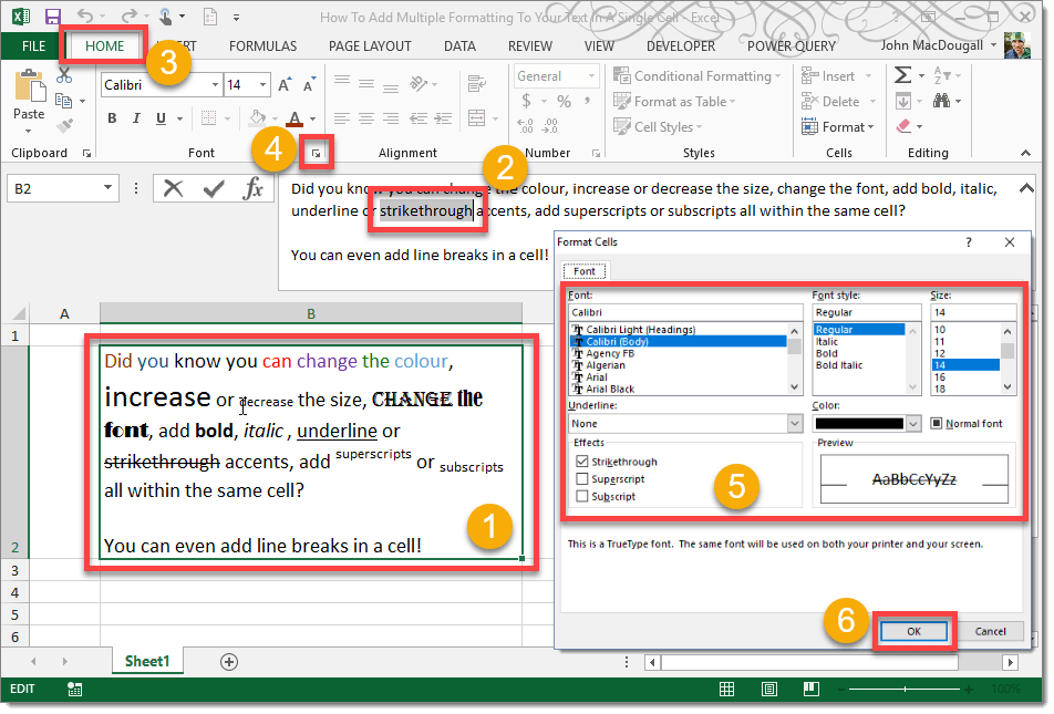 Step-001-How-To-Add-Multiple-Formatting-To-Your-Text-In-A-Single-Cell How To Add Multiple Formatting To Your Text In A Single Cell