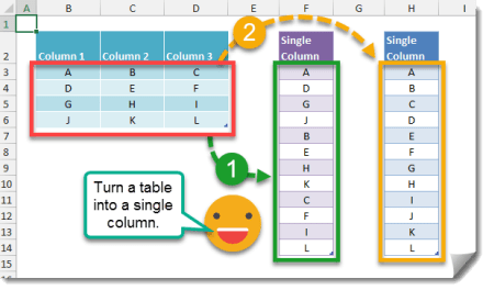 How To Turn A Table Into A Column Using Formulas