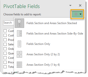 Change-How-The-PivotTable-Fields-Window-Is-Arranged 101 Advanced Pivot Table Tips And Tricks You Need To Know